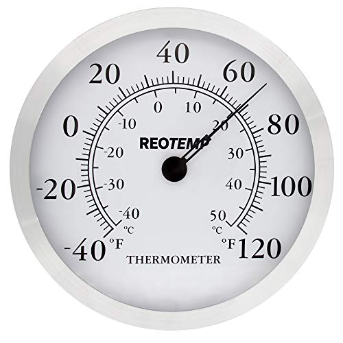 Thermometer Aluminum (REOTEMP WT12 Brushed Aluminum Indoor Wall Thermometer, 12