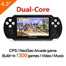 CZT Dual-core 64Bit Handheld Game Console 4.3'' Video Game Console Support Built-in 1300 CPS/NEOGEO/GBA/SFC/MD/FC/GBC/SMS/GG Games Mp5 Player (Black)