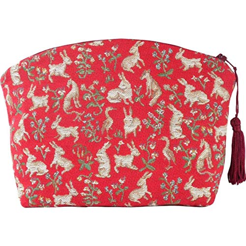 ART DE LYS Milles Fleurs et Petits Animaux (1000 Flowers & Small Animals) French Jacquard Tapestry Zippered Case (Pouchette), Imported, Lady & The Unicorn