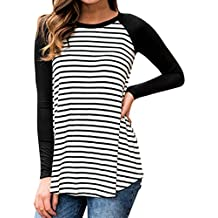 iLH® Clearance Deals O-Neck T-Shirt,ZYooh Women Long Sleeve Striped Raglan Loose Baseball Blouse Tunic Tops