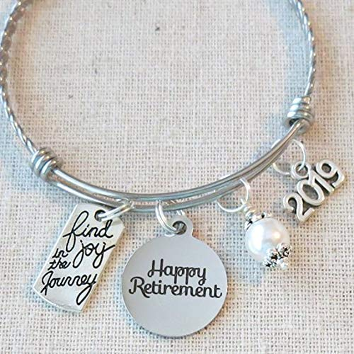 2019 RETIREMENT Gift Bangle Bracelet, Find Joy in the Journey Congratulations Gift, 2019 Retirement Bracelet, Happy Retirement Gifts for Women -