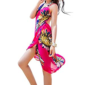 5d8fd49aaa Amazon.com  Women Chiffon Bikini Scarf Sun Protection Sarong Wrap ...