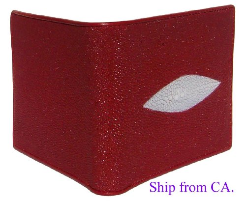 Red Authentic Thailand Stingray Men's Bi-fold Wallet