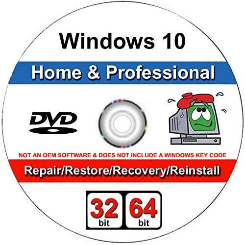 (Windows 10 Home and Professional- 32/64 Bit DVD. Recover, Repair, Restore or Re-install Windows to Factory Fresh)