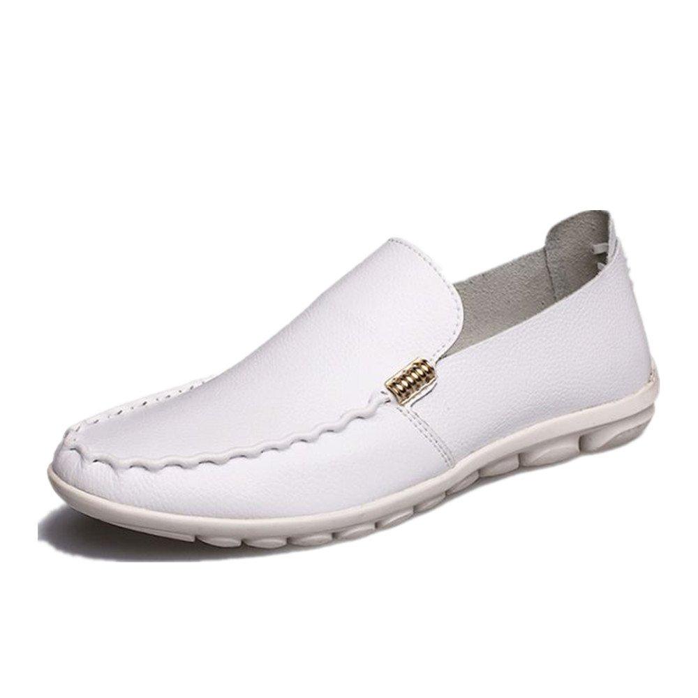 Zapatos de Cuero Ocasionales de los Hombres de Verano Zapatos de conducción Respirables 42 EU|Blanco
