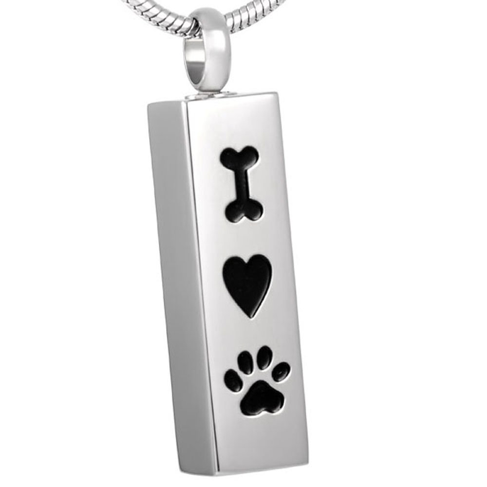 CJJ8001 Dog Cremation Pendant Bone Heart Paw Printed Loving Pet Memorial Urn Necklace For Ashes