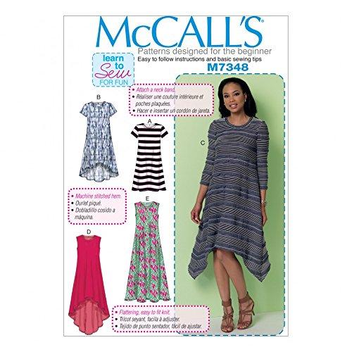Handkerchief Dress Pattern (McCalls Ladies Easy Learn to Sew Sewing Pattern 7348 Straight, Handkerchief & High Low Hem Dresses)