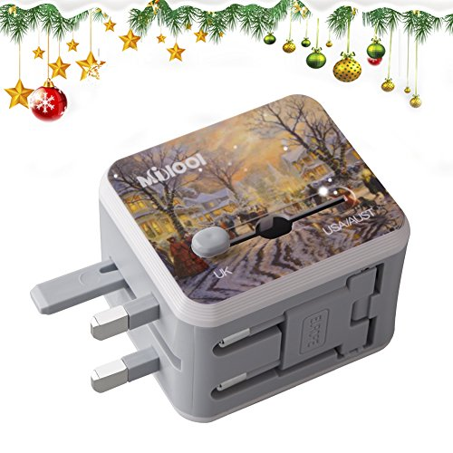 Universal All in One Worldwide Travel Adapter with Dual USB Ports for UK, EU, AUS, US 150+ International Countries for Phones, iPhone, iPAD, Power Bank, MP3/4/5, Cameras (Christmas) (Electric Current Converter)