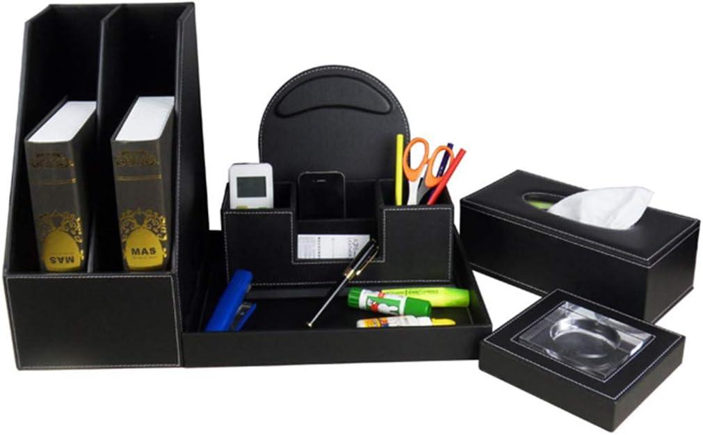 KNlang ブラックPUレザービジネスオフィスデスクトップダブルローファイルホルダーマウスパッドダブルバレルトレイティッシュボックス灰皿セット (色 : 黒)