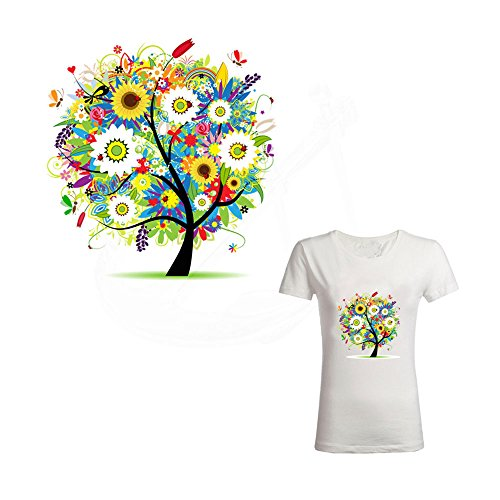 tches for Clothes, Flower Tree Printing Heat Transfer Sticker Patch for Household Irons DIY Decor Hotfix Decal Motif Appliqued for T-shirt Jeans Coats Totes Hoodie ()