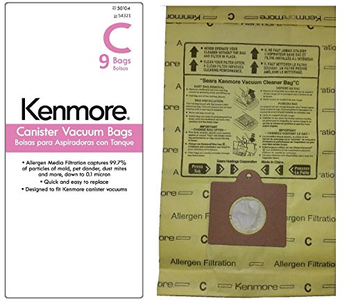 9 Kenmore Style C & Style Q Allergen Filtration Canister Vacuum Bags, 54321. Also Fits Panasonic C-5, C-18. (Kenmore Q Hepa Bags compare prices)