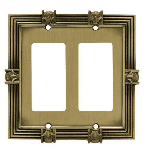 Antique Brass Pineapple (Franklin Brass 64469 Pineapple Double Decorator Wall Plate / Switch Plate / Cover, Tumbled Antique Brass)