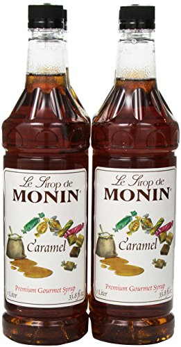 Monin Flavored Syrup, Caramel, 33.8-Ounce Plastic Bottles (Pack of 4) (Monin Caramel)