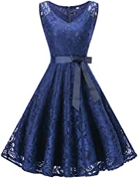 Womens Dresses, Sleeveless V Neck Floral Lace Cocktail Party Prom Dress (Navy Blue XXXL)