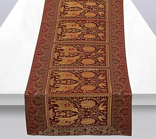 Stylo Culture Brocade Jacquard Coffee Table Runner Maroon Rectangular Bohemian Traditional Living Room Decor Elephant Peacock Floral Decorative Center Table Cloth | 60x16 Inches (152 x 40 cm)]()