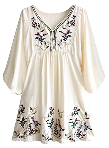 Futurino Women's Bohemian Embroidery Floral Tunic Shift Blouse Flowy Mini Dress,Flower Beige,Medium