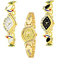 Casera Analoge Multi Color Combo Pack of 3 Bangle Watch for Women and Girls - Combo of 3 Watch