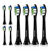 8 Pack Replacement Toothbrush Heads for Philips Sonicare ProtectiveClean 4100 5100 6100, DiamondClean, Plaque Control, Gum Health, HealthyWhite, FlexCare, Essence+ and EasyClean, Black