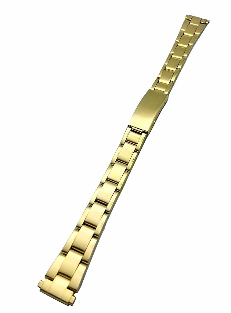 12-15mm Metal Watchband by NewLife | Women's Gold-Tone Stainless Steel Replacement Strap with Clasp