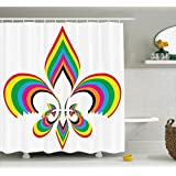 Ambesonne Fleur De Lis Decor Collection, An Illustration with Fleur De Lis in Colorful Rainbow Color Cheering Retro Art, Polyester Fabric Bathroom Shower Curtain Set, 75 Inches Long, Yellow Red Blue