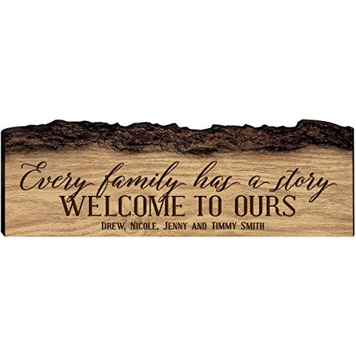 LifeSong Milestones Personalized Custom Family Name Sign Engraved with Family Name Every Family Has a Story Welcome to Ours (Every Family)]()
