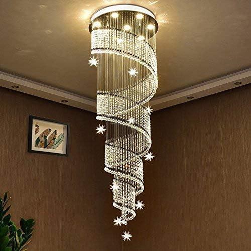 Saint Mossi Modern K9 Crystal Swirl Design Raindrop Chandelier Lighting Flush Mount LED Ceiling Light Fixture Pendant Lamp