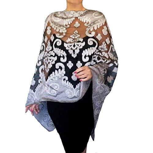 Silver Organza Wrap - Plus Size Silver Shawl Grey Wedding Wrap Black Organza Evening Wear By ZiiCi