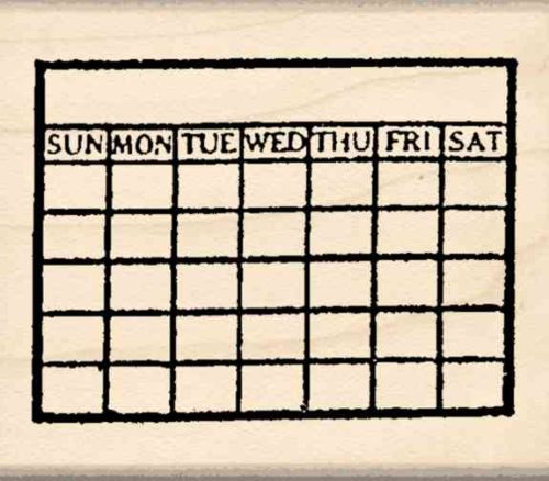Calendar Rubber Stamp 1 3 inches