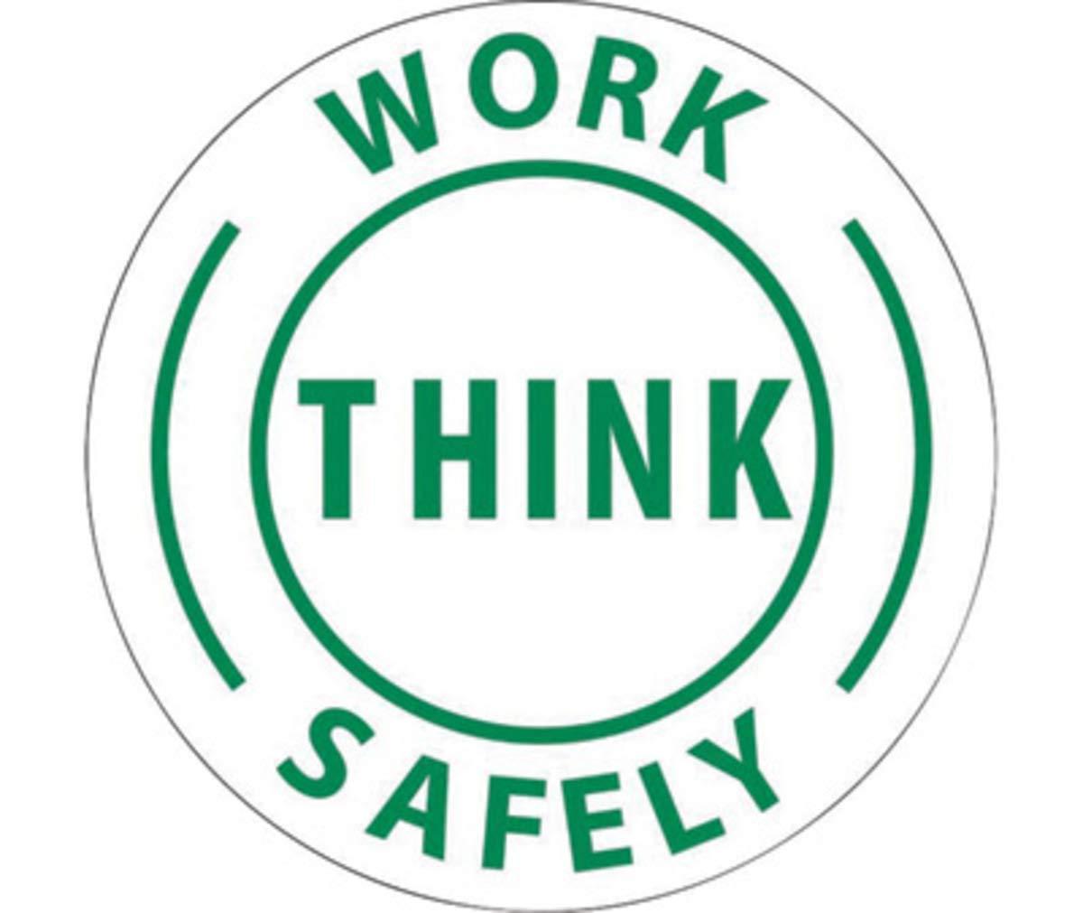 NMC 2'' X 2'' Green/White Pressure Sensitive Vinyl Label ''WORK THINK SAFELY''
