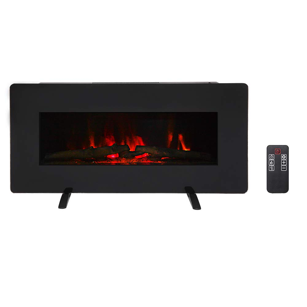 SUNCOO 36 Inches Electric Fireplace, Wall Mounted Fireplaces Log Set Crystal, 3 Flame Settings, Realistic Flames, Electric Fireplaces with Remote Control, 1400W, Black