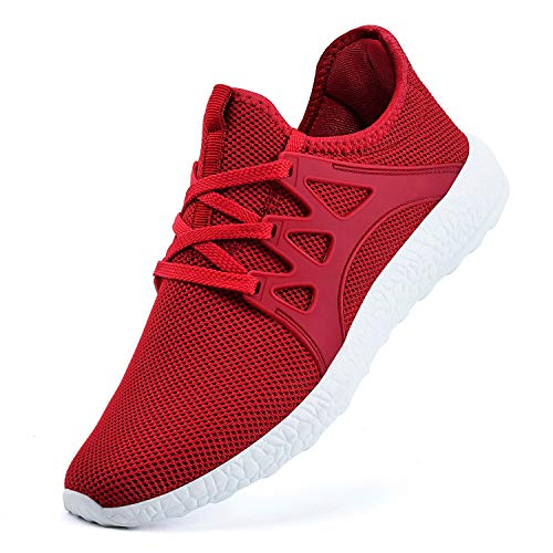 Guteidee Women's Sneakers Lightweight Breathable mesh Fashion Gym Tennis Sports Shoes Red - Sport Red White
