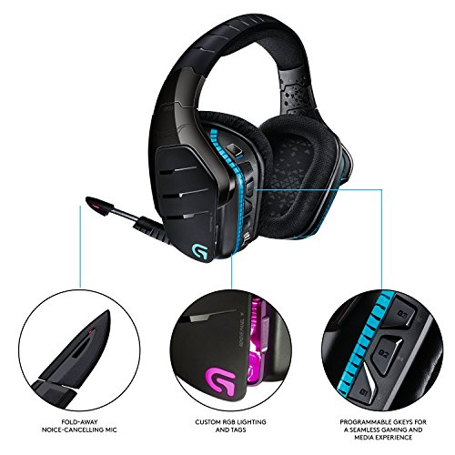 Logitech G933 Artemis Spectrum, Wireless RGB 7.1 Dolby and DTS Headphone Surround Sound Gaming...