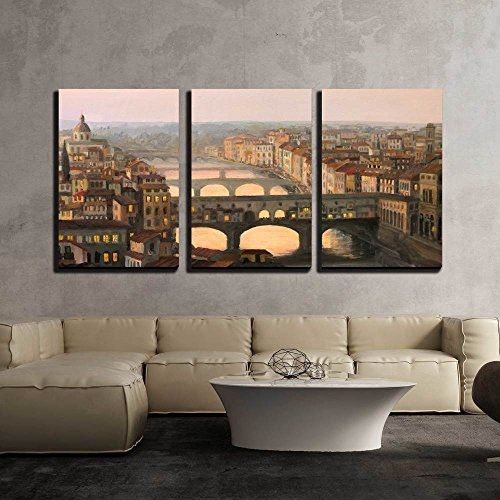 Florence Ponte Vecchio - wall26 - 3 Piece Canvas Wall Art - Sunset Over Florence with The River and Ponte Vecchio in Warm Light - Modern Home Decor Stretched and Framed Ready to Hang - 16