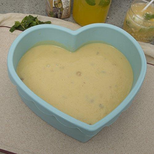 Heart Shape Silicone Baking Mold Nonstick Cake Pan 9 Inch Baking Pan Big for Cake Bread Pie Flan Tart DIY - FDA & BPA Free (9.8''x9''x2.8'') - Blue by DOSHH (Image #5)'