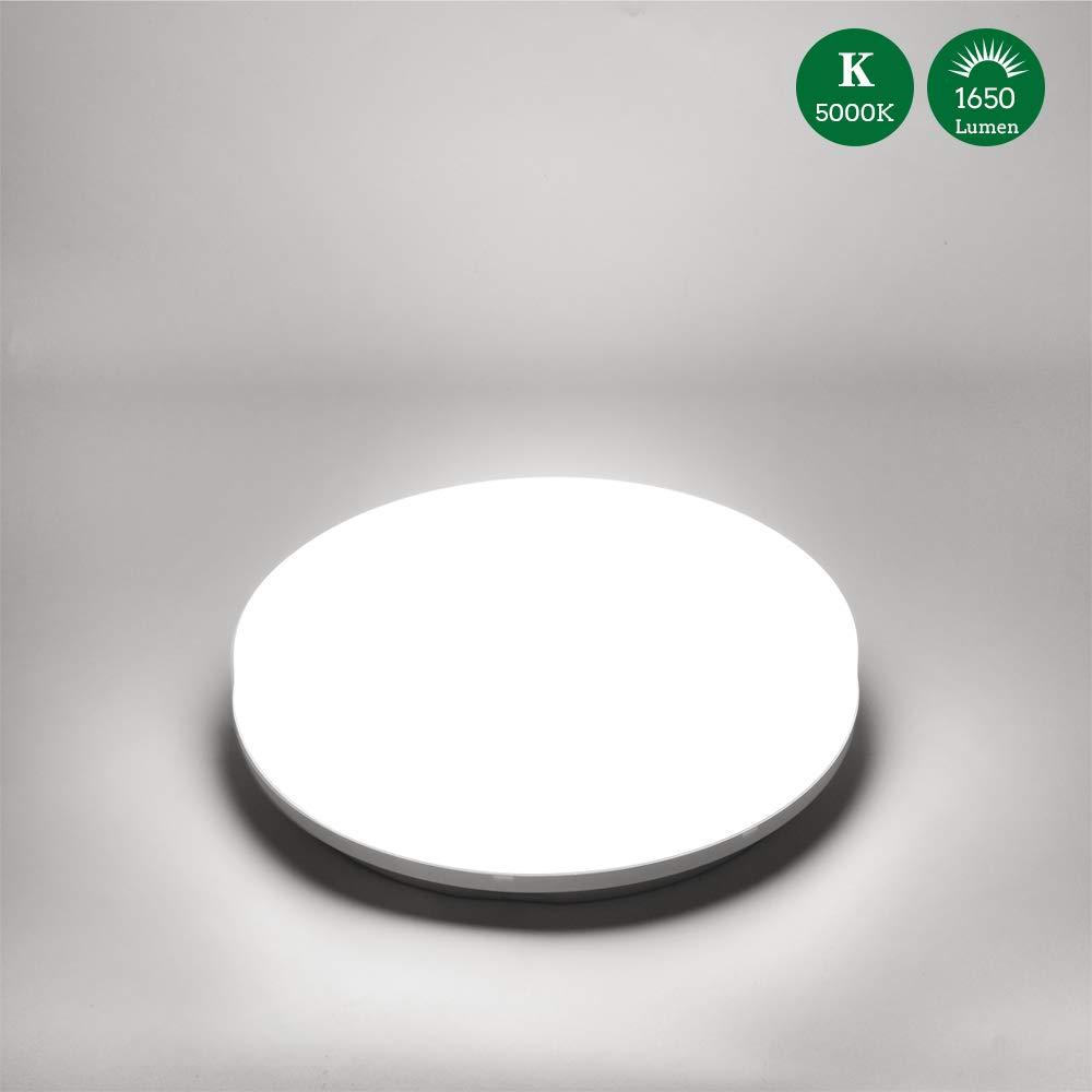 /Öuesen L/ámpara de techo LED 18W equivalente a 100W Plaf/ón LED de 1650 l/úmenes Color Blanco fr/ío 5000K IP44 resistente al agua plaf/ón para cuarto de ba/ño Balc/ón Piso Cocina Sal/ón