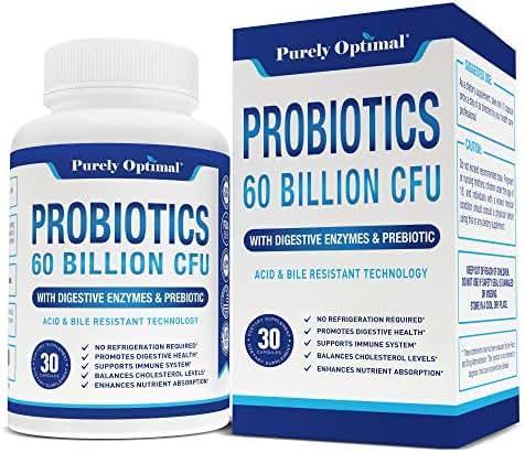 Premium Probiotics 60 Billion CFU with Organic Prebiotics & Digestive Enzymes; Dr. Formulated Probiotics for Women & Men; Shelf Stable Acidophilus Probiotic Supplement, Patented Delay Release Capsules