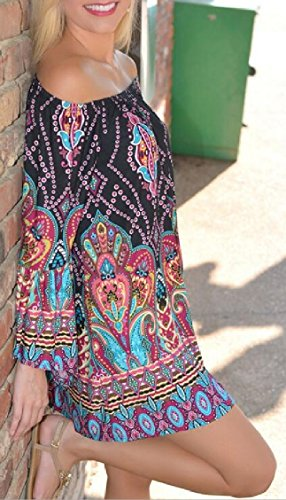 Jaycargogo Mini Shoulder Boho Boho Off 4 Bohemian Dress Print Bell Women's Sleeve zwrUxBqz