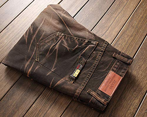 Uomo Distrutto Fit Jeans Straight Biker Pantaloni Skinny Strappati Caffè Casual Taglio rHCnrxq