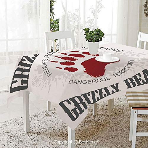 - BeeMeng Large dustproof Waterproof Tablecloth,Family Table Decoration,Cabin Decor,Grunge Grizzly Bear Footprint Emblem Dangerous Wildlife Rocky Mountains Decorative,Grey Red White,70 x 104 inches