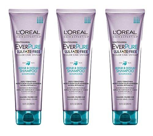 L'Oréal Paris EverPure Sulfate Free Repair & Defend Shampoo, 8.5 fl. oz.(Pack of 3)