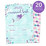 Baby : Mermaid Birthday Party Invitations for A Girl - Fill In Style 20 Count - Mermaid Bash