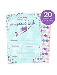 Mermaid Birthday Party Invitations for A Girl - Fill In Style 20 Count - Mermaid Bash BOBEBE Online Baby Store From New York to Miami and Los Angeles