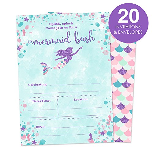Mermaid Birthday Party Invitations for A Girl - Fill In Style 20 Count - Mermaid Bash