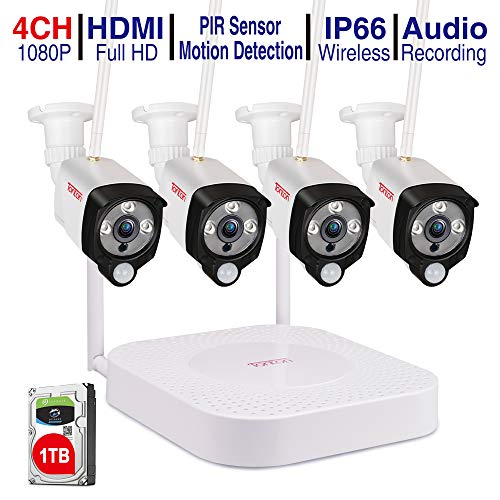 [Audio+PIR] Tonton 1080P Wireless Home Security Camera System,4CH Full HD 1080P Network WiFi NVR with 1TB HDD and 4PCS 2.0MP Outdoor Bullet IP Cameras,Motion Alerts with Snapshot,Easy Installation