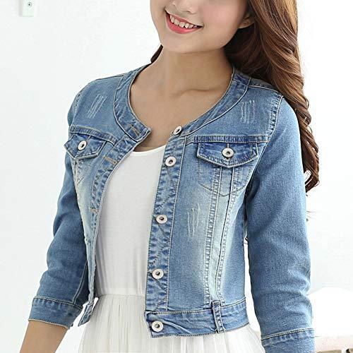 Women's Short Denim Jacket Round Neck Denim Three Quarter Sleeves Light Blue Jacket (Light Blue, S)