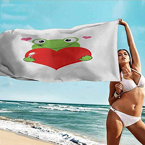 Antonia Reed Bathroom Body Shower Towel Love,Cute Cartoon Frog Holding Giant Heart Adoration Theme Funny Character Illustration,Green Red Pink,Suitable for Home,Travel,Swimming Use -