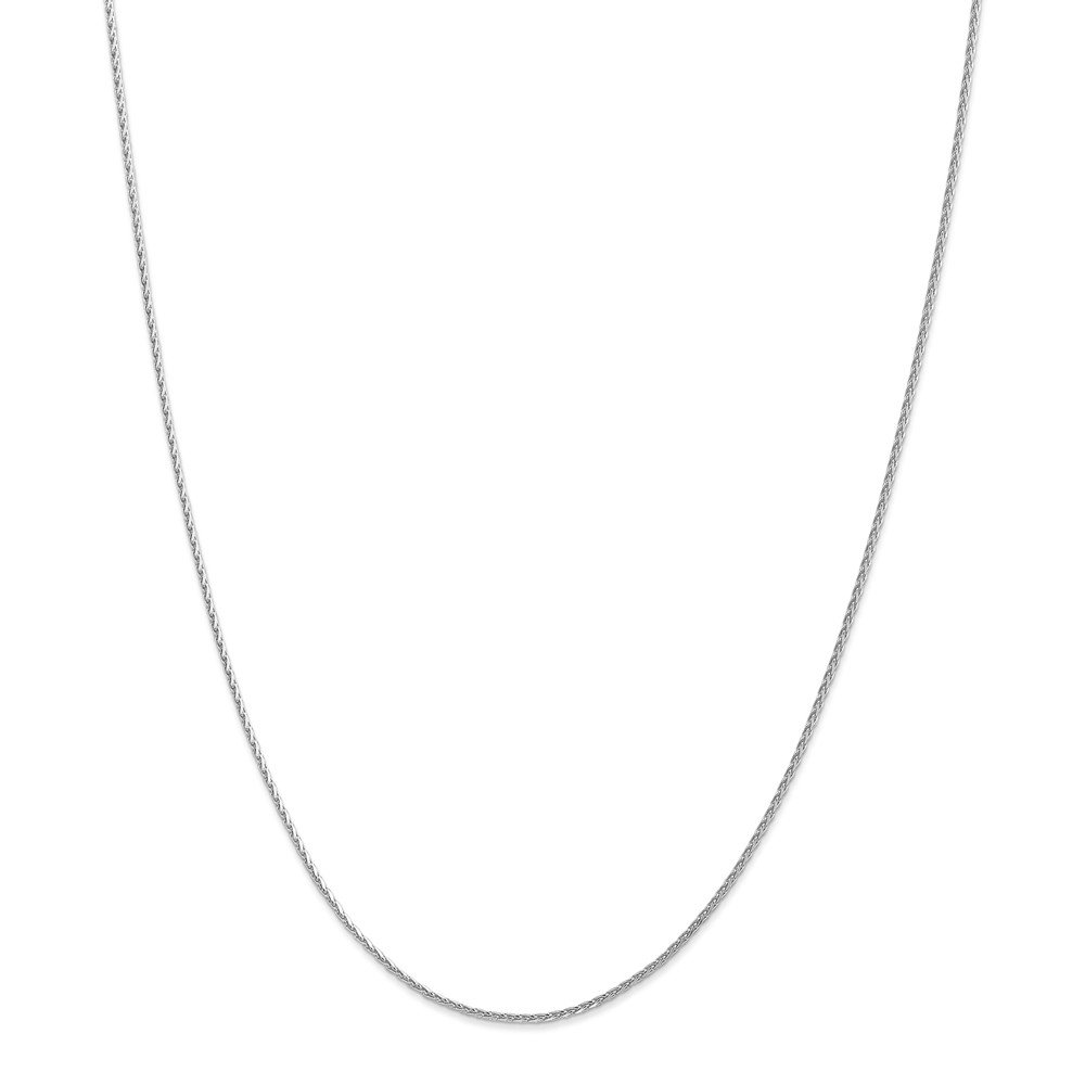 Solid 14k White Gold 1.5mm Round Diamond Cut Wheat Chain Necklace - with Secure Lobster Lock Clasp 20''