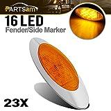 Partsam 23 Pcs 6.5'' Amber LED Trailer Marker Lights Clearance 379 peterbilt chrome 16LED, Sealed Oval Led Marker Turn Signal lights, Chrome Cab Panel Marker Lights