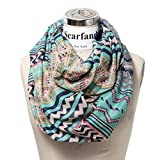 Scarfand Lightweight Tribal Print Infinity Scarf (Light Mint)