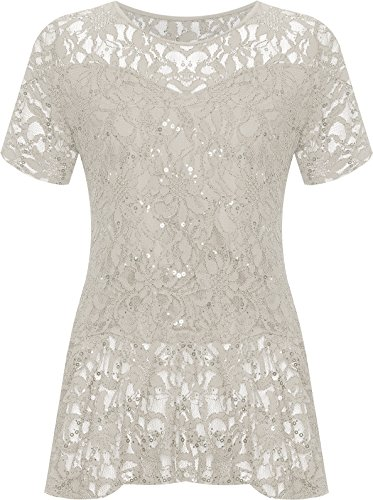 (WearAll Plus Size Women's Lace Sequin Peplum Top - Cream - US 18-20 (UK 22-24))